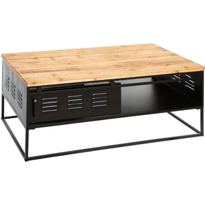 table basse en metal et bois cierna atmosphera