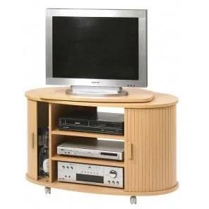 meuble tv plateau pivotant hetre sur