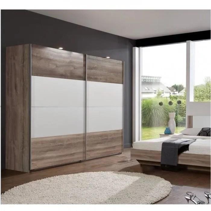 armoire penderie eva 2 portes coulissantes largeur 225 cm finition chene chataigne blanc marron chene inside75