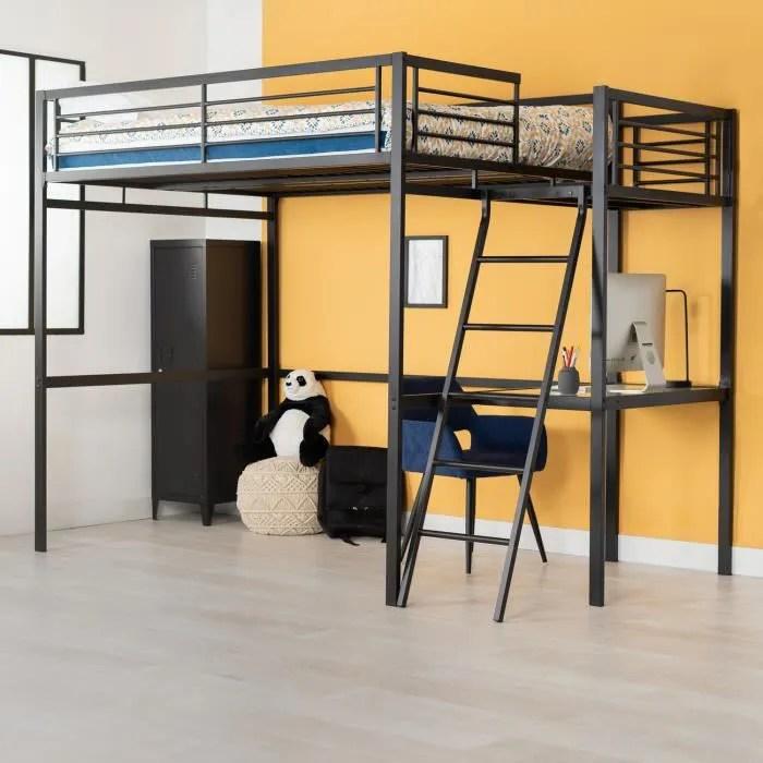 furnish1 lit mezzanine adulte en noir metal laque epoxy avec bureau sommier a lattes 140x190cm matelas non inclus