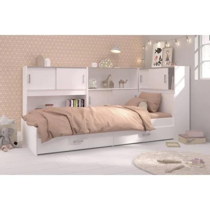 scoop lit enfant avec 3 meubles de rangement contemporain decor blanc l 90 x l 200 cm
