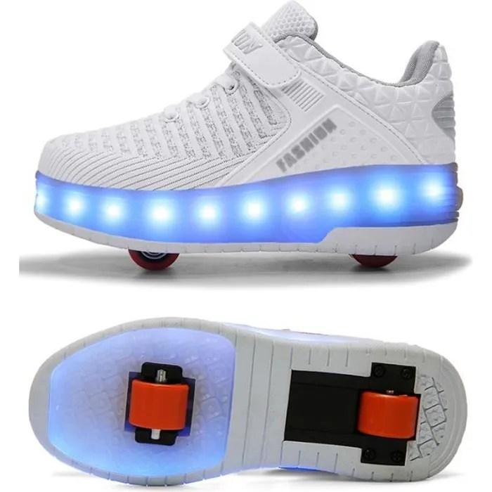 skateshoes usb charge baskets enfants led chaussures roller lumineuse a roulettes garcons filles sneakers avec roues automatique de