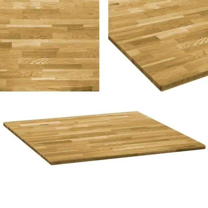 dessus de table bois de chene massif carre 23 mm 80x80 cm