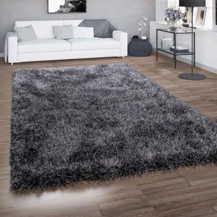 tapis poils longs pour salon shaggy avec fil brillant gris anthracite 140x200 cm
