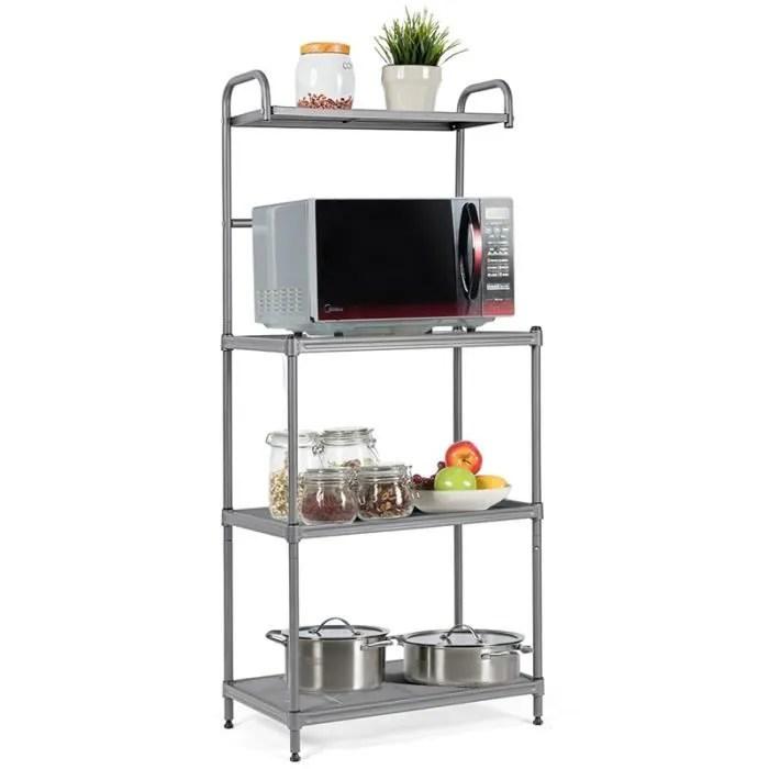 costway etagere de micro ondes et four meuble rangement de cuisinea4 niveaux multifonctionnelle 60 x 34 5 x 136 cm pieds reglables