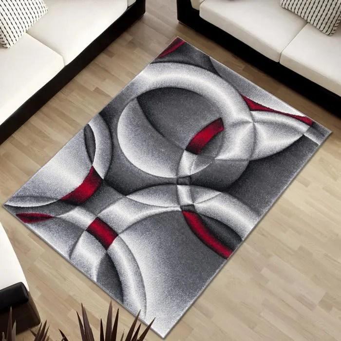 tapiso sumatra tapis de salon chambre moderne abstrait cercles gris rouge doux 160 x 220 cm