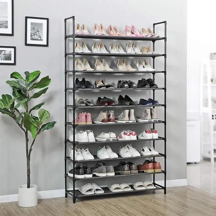 etagere range chaussures 40 50 paires meuble rangement