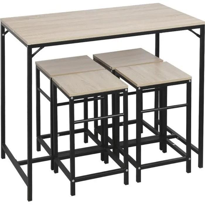nuo ensemble table de bar bistrot 4 tabourets avec repose pieds table mange debout table haute cuisine structure en metal