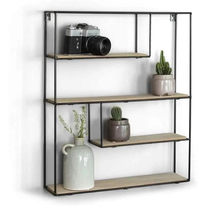 lifa living etagere murale bois et metal avec 3 et