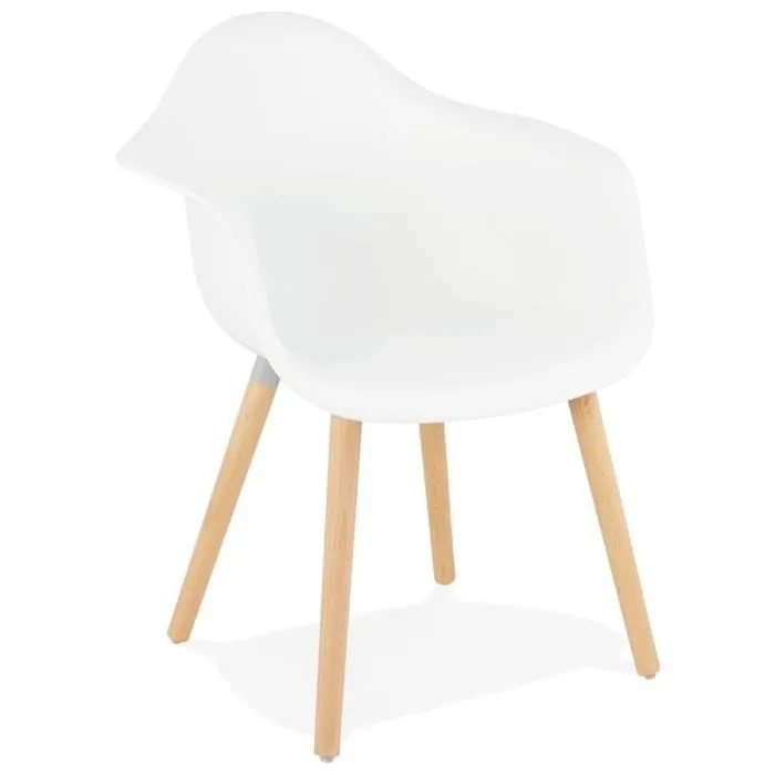 hom chaise avec accoudoirs blanche style scandinave