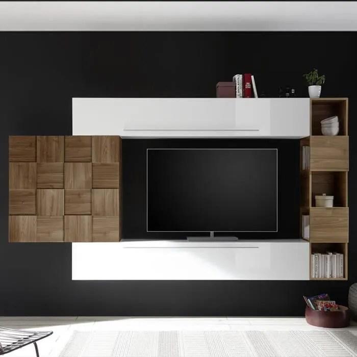 meuble tv suspendu blanc et couleur bois fonce lic