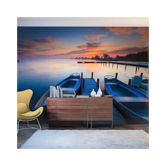 papier peint coucher de soleil barques et ponton dimension 400x309
