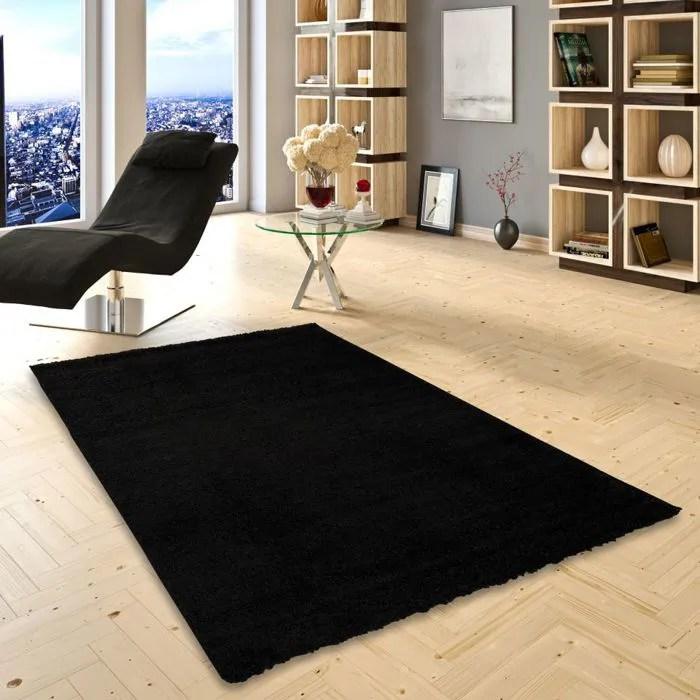 aloha tapis shaggy a poils longs noir 120x170 cm