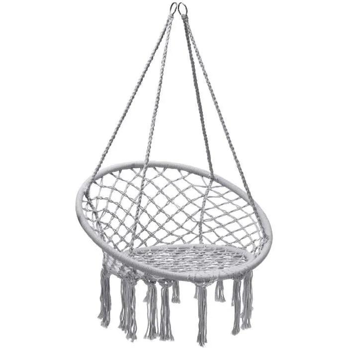 dreamade hamac chaise suspendu tricotee par corde de coton avec des franges pour l interieur exterieur n inclut pas support de hamac