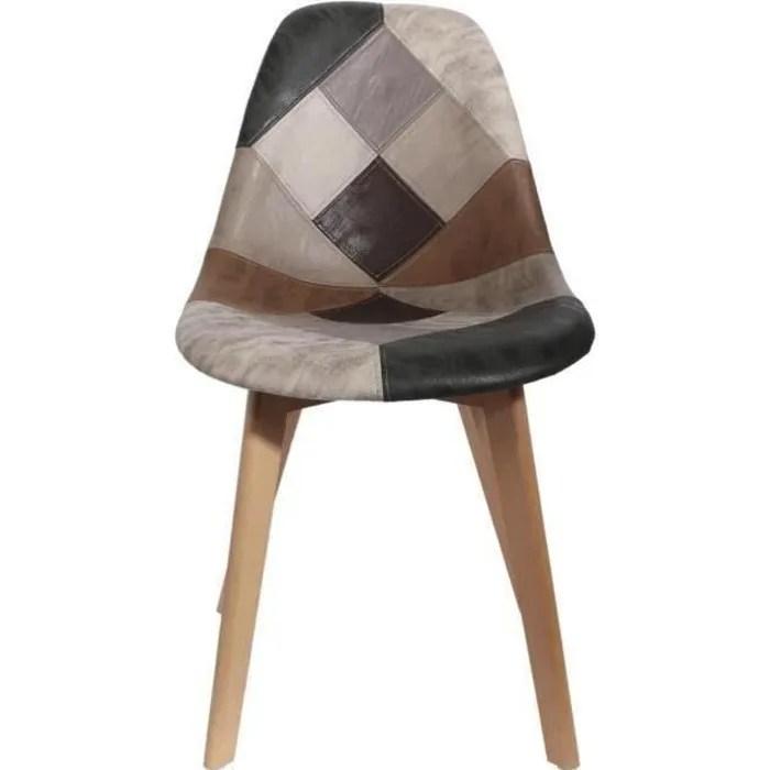 chaise scandinave patchwork marron