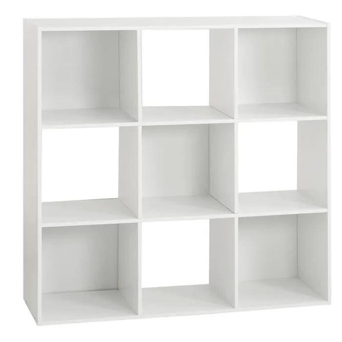 etagere bois 9 cases mix blanc autres blanc