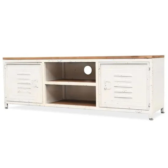 meuble tv metal style industriel 120 x 30 x 40 cm blanc