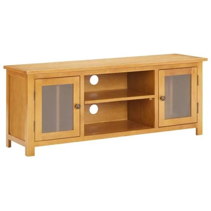 meuble tv 120x35x48 cm bois de chene massif et mdf