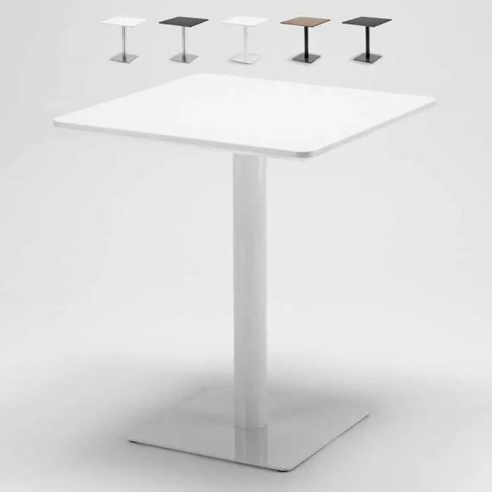 table 60x60 carree avec pied central pour bar bistrots horeca styles blanc verni blanc