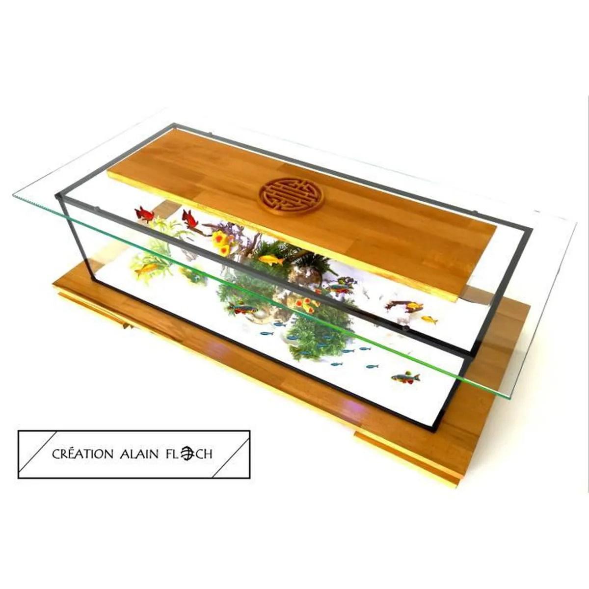 table basse vitrine aquarium