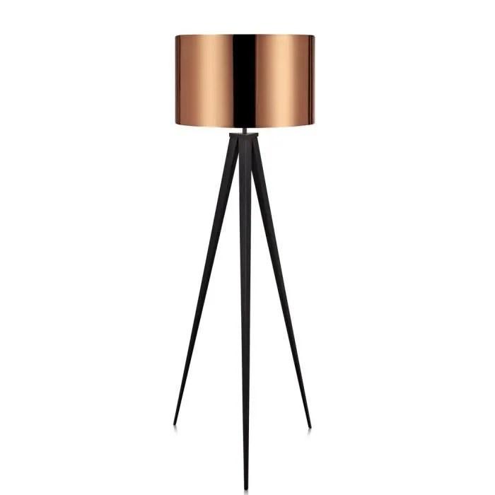 lampadaire trepied metal avec abat jour cuivre versanora romanza vn l00005 eu