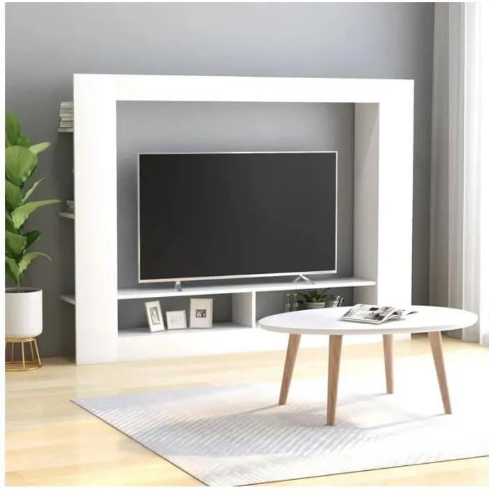 meuble tv blanc 152x22x113 cm mode simple design p