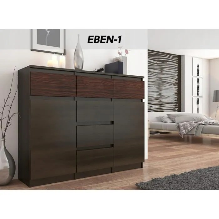 monaco 1w commode contemporaine meuble rangement chambre salon 120x40x98 6 tiroirs coullisants 2 portes buffet sejour