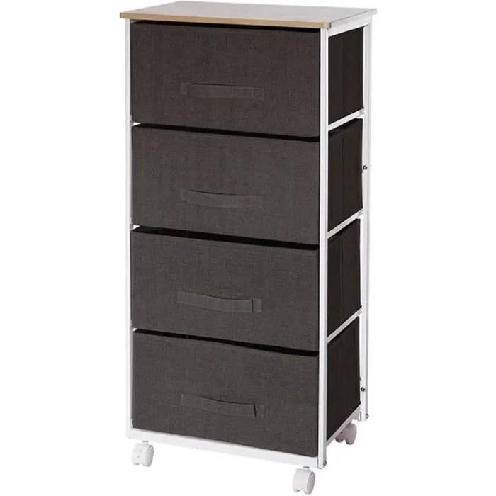 meuble de rangement 4 tiroirs gris fonce a roulettes autres gris