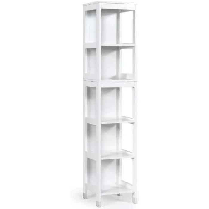 meuble colonne salle de bain a 5 niveaux meuble de rangement en bois avec 3 etageres ouvertes et 2 tiroirs amovibles