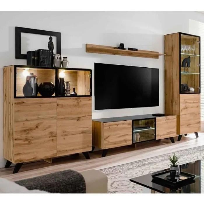 ensemble meuble tv bibliotheque thin noir naturel paris prix