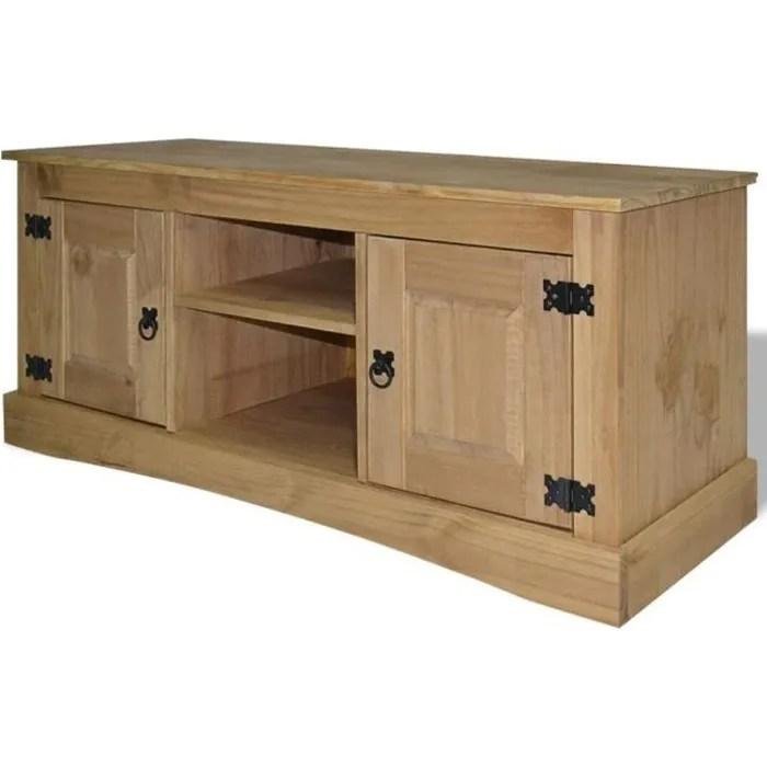 meuble tv rustique avec 2 armoires et 2 compartime