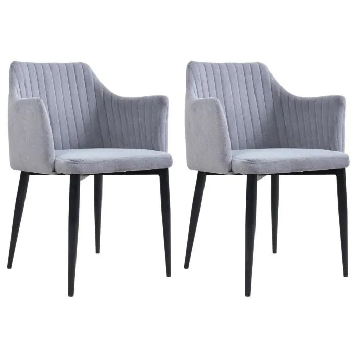 lot de 2 chaises segovia en tissu gris