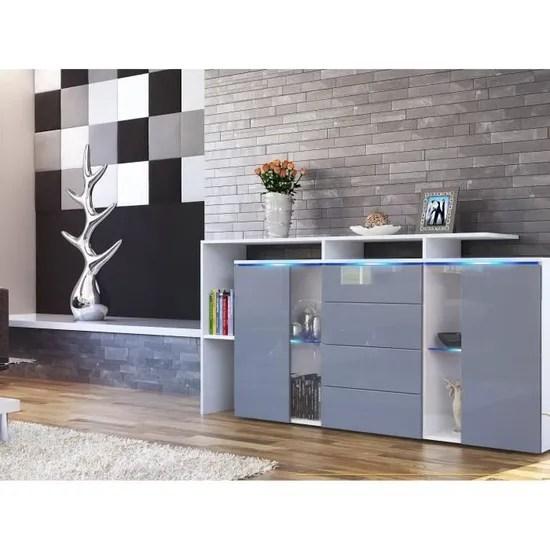 bahut laque blanc et gris 4 tiroirs 160 cm