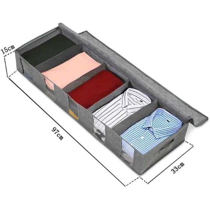 sac de rangement sous lit housse de lit boite de rangement sous vetement serviette gris
