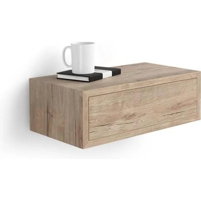 Mobili Fiver Table De Chevet Suspendue Riccardo Chene Melamine Made In Italy Cdiscount Maison