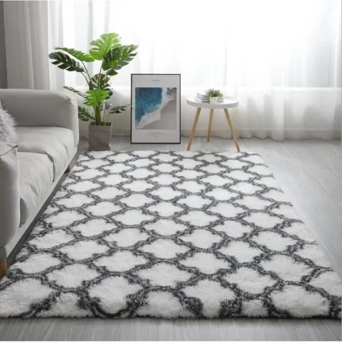 tapis de salon doux shaggy 120 x 160 cm blanc
