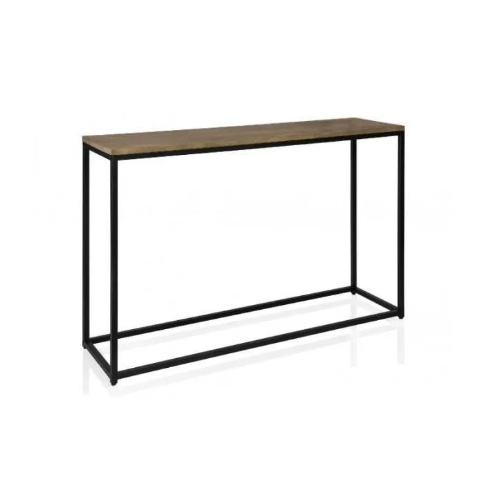 console d entree en metal noir et plateau en bois long 122cm 0 000000