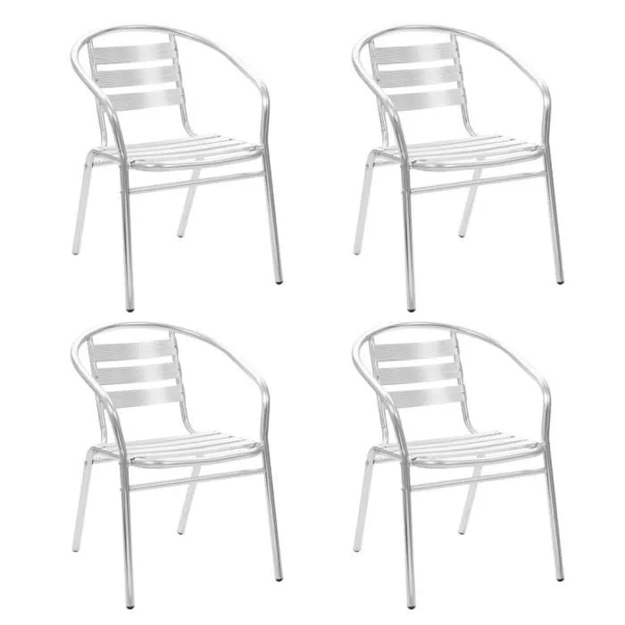 chaises empilables d exterieur 4 pcs aluminium