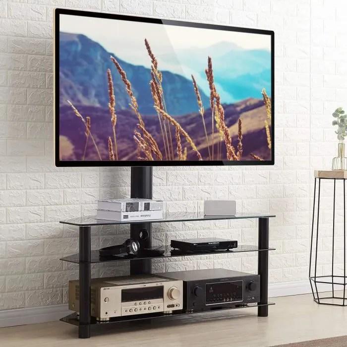 Rfiver Meuble Tv Avec Support Pivotant Hauteur Reglable Pour Tvs Et Ecrans Lcd Led De 32 A 65 Pouces 3 Etageres Tw1002 Cdiscount Tv Son Photo