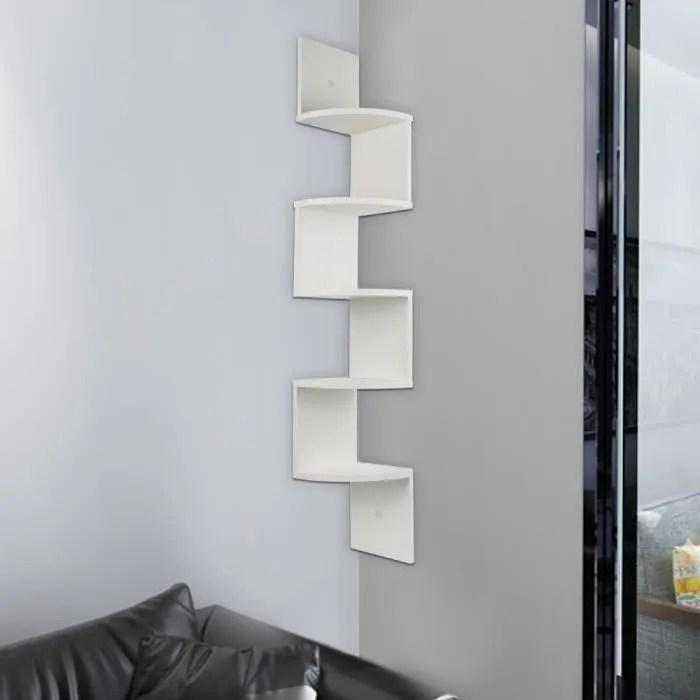 etagere d angle design contemporain zig zag 5 niveaux 20 20 120h cm couleur blanc