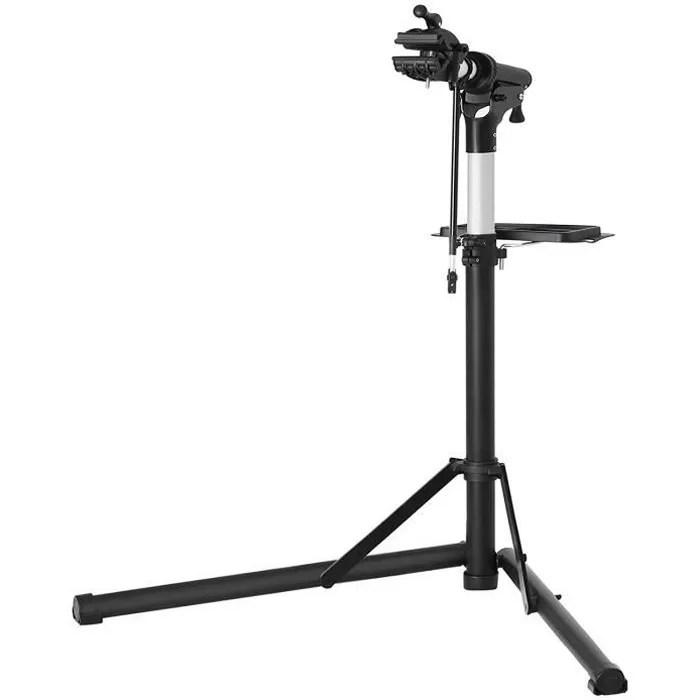 songmics support de reparation de velo pieds d atelier en aluminium avec plateau a outils magnetique reglable leger noir sbr04b
