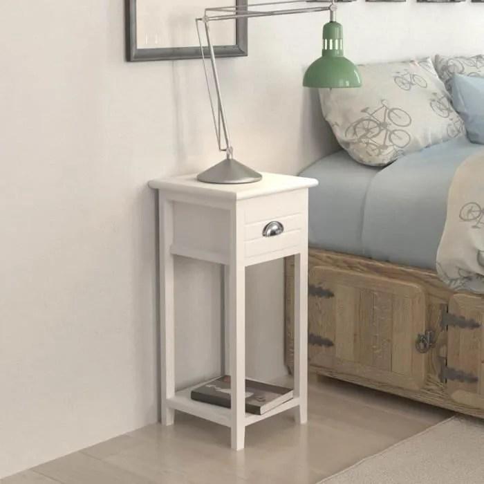 Table De Chevet Table De Nuit Scandinave30 X 30 X 63 Cm Contemporainavec 1 Tiroir Blanc Cdiscount Maison