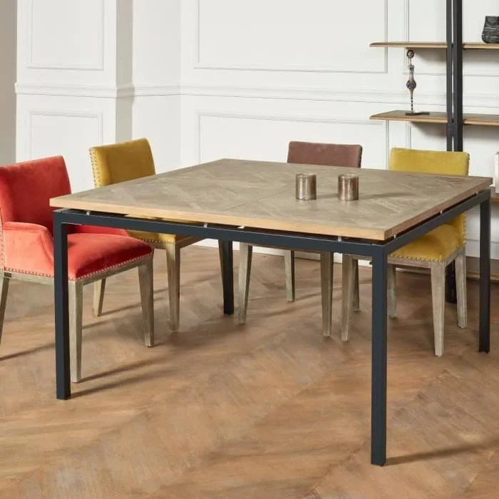 table carree chene massif pieds metal