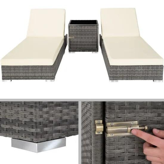 tectake ensemble de 2 bains de soleil en aluminium resine tressee table housse de protection gris