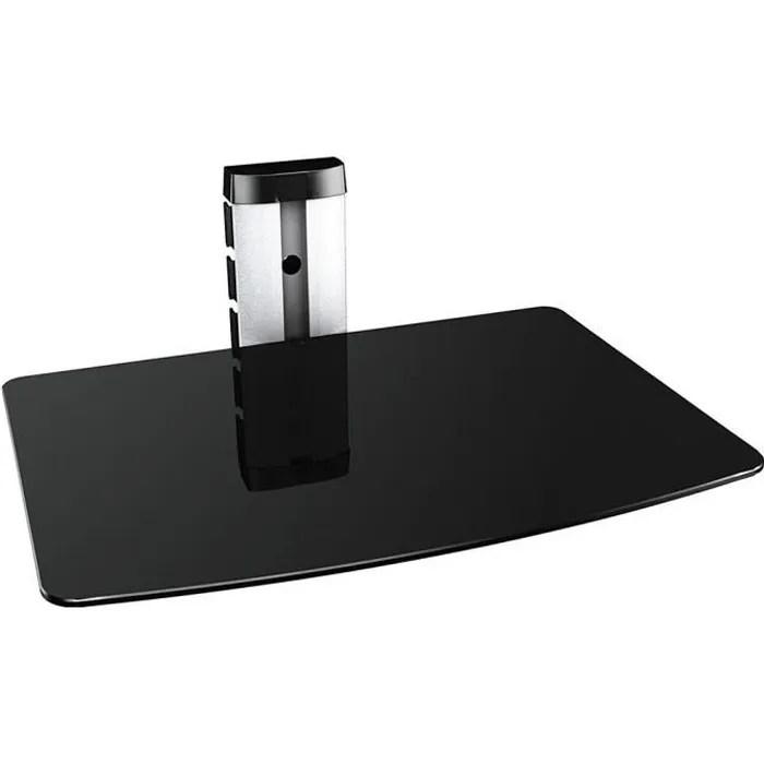 etagere murale en verre noire 1 tablette pour dvd blu ray console de jeu