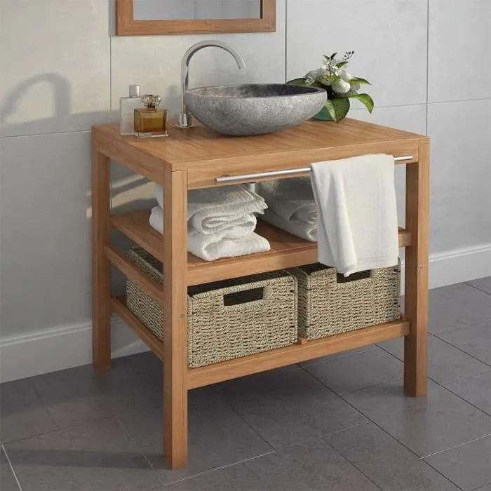 meuble de salle de bain avec 2 paniers teck massif