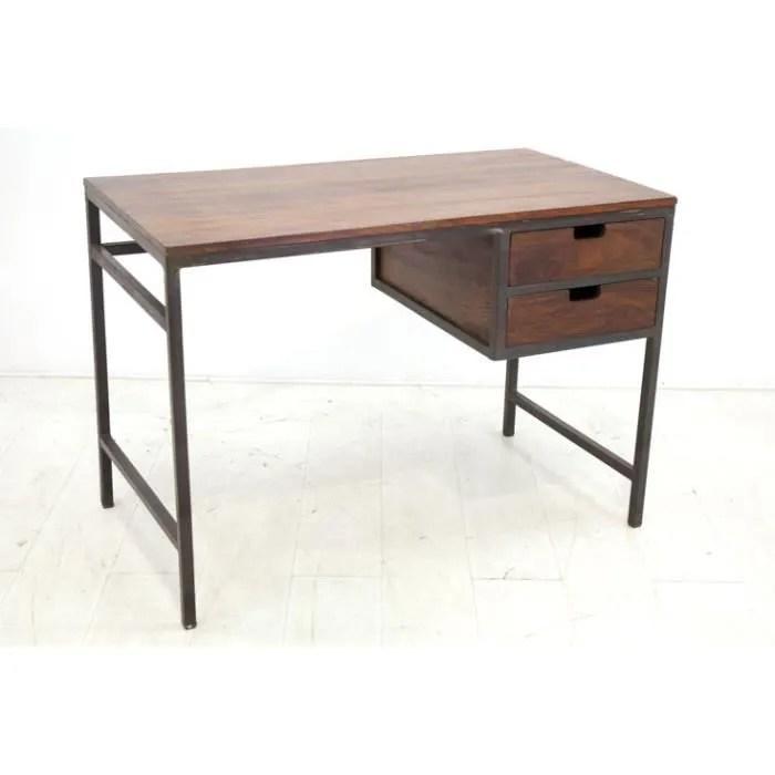 maharadja bureau fer bois 2 tiroirs