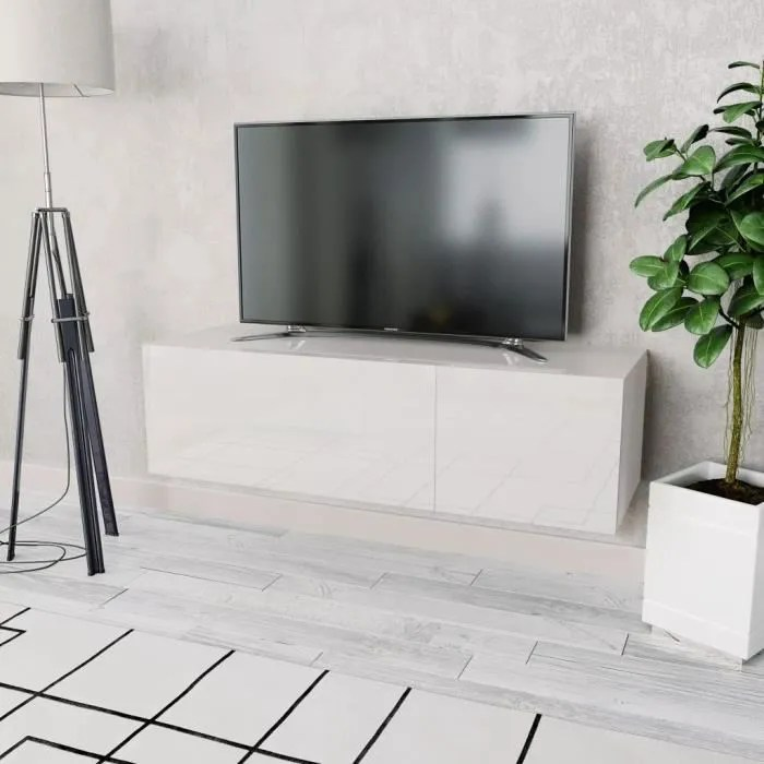meuble tv agglomere 120 x 40 x 34 cm blanc brillan