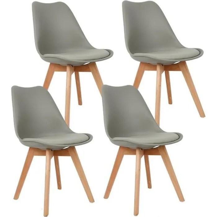 lot de 4 chaises lorenzo style scandinave grises retro tulip rembourree chaise de salle de cuisine