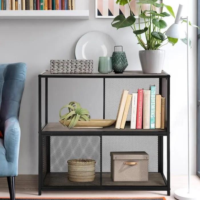 meuble bibliotheque 2 etageres decor bois styl